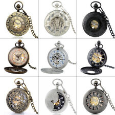 Mechanical Pocket Watch Half Hunter Vintage Antique Style Windup Skeleton Chain