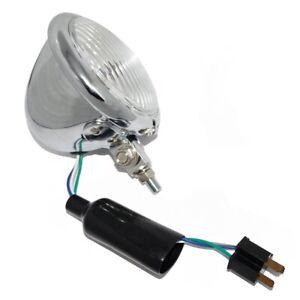 Chrome Bottom Mount Headlight Spot Lamp 124mm Custom Classic Vintage Bike