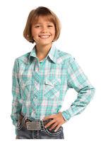 Panhandle Slim Girl's Teal & Pink Plaid Snap Up Western Shirt C6S6225