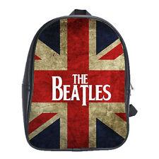 The Beatles Union Jack Backpack Leather Boys Girls School Textbook Bag Laptop