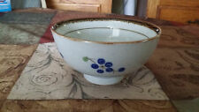 Cute Chinese Rice Soup Bowl Gray With Brown Rim Blue Flowers + Green Stems