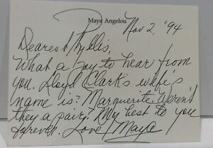Author Poet Maya Angelou Signed Autograph Personal Stationery Card 1994