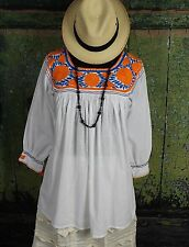 Hand Embroidered Multi-color Blouse Mayan, Chiapas Mexico Santa Fe Hippie Boho