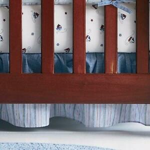 Tiddliwinks Blue Striped Boy's Bedskirts Dust Ruffle Bedding Full  8978