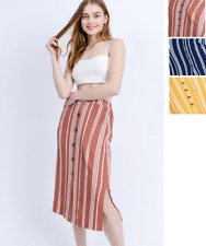 Women's Pencil Cotton Skirt Elastic Waist Button Side Slit USA