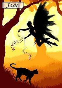 Handmade Personalised Birthday Card Fairy Dust Cat Fantasy Granddaughter Mum Nan