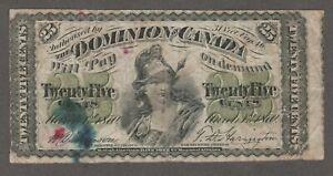DOMINION OF CANADA 1870 25 CENT NOTE