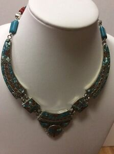 Tribal Inlaid Coral Turquoise Stone Beaded Tibetan Silver Boho Necklace Tibet