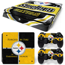 FriendlyTomato PS4 Slim Console and DualShock 4 Controller Skin Set Steelers