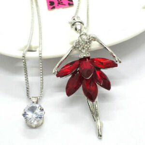 Popular Elegant Girl Red Crystal CZ Double Pendant Betsey Johnson Chain Necklace