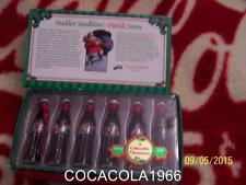 Coke Mini Set Coca Cola Glass Bottles 1931 1936 Santa LTD NIB MINIATURE Ornament