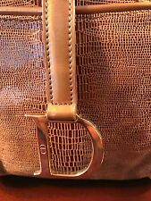 CHRISTIAN DIOR Vtg Shiny Gold/Bronze Snake Embossed Leather Boxy HandBag Purse