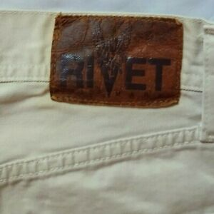 Rare Vintage Beige RIVET Denim Men's Jeans 32 x 28.5