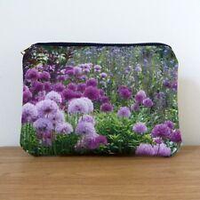 Make up Bag Cosmetics Gifts Brass Navy Handmade Flower Floral Garden Alliums