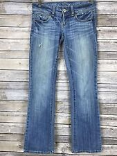 American Eagle Womens Slim Boot Stretch Blue Jeans Distressed Size 0 Short