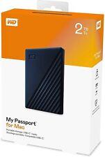 WD My Passport 2TB Ultra-Portable Hard Drive For Mac -- USB 3.0 + USB-C -- NEW!