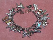 Vtg Sterling Silver Charm Bracelet 3D Animals Dogs Poodles Ladybug Chicken Birds
