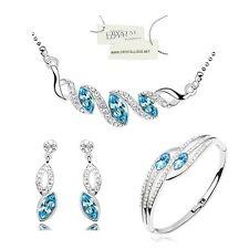 Coffret Parure Bijoux Goutte Diamantée Turquoise SWAROVSKI ® ELEMENTS