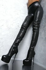 1969 ITALY LEDER HOHE Overknee Lang Stiefel Stretch G59 Boots High Heels Leather