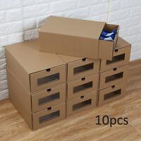10× Shoe Boxes Organiser Drawer Cardboard Foldable Stackable Storage Visible