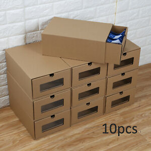10× Shoe Boxes Organiser Drawer Cardboard Foldable Stackable Storage Visible