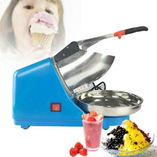 Electric Ice Crusher Shaver Snow Cone Maker Machine Blue + Stainless Steel Pan