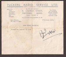 GB 1948. Tuckers Radio Service, portable radio repair receipt, PAID. Twyford.