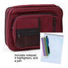 """Bible Cover Case Burgundy NEW Reinforced Canvas, Handle & Stationary XL 10"""" x 7"""""""