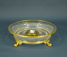 Antique Baccarat Cut Crystal French Ormolu Bronze Dore Bowl w/ Gilt Paw Feet