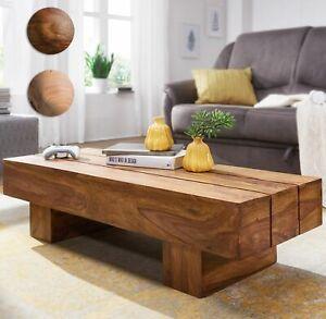 FineBuy Table Basse Bois Massif 120x30x45cm Table d'appoint Table de salon