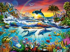Puzzle Pappe Castorland 3000 Teile Paradies Bucht Unterwasser Riff NEU C-300396