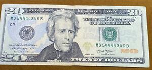 20 dollar bill MG 5444434B. In Good Condition