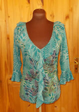 PER UNA M&S navy turquoise blue green floral 3/4 sleeve tunic top frill 12 40