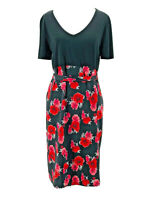 Ma Cherie Maternity Women's Black Floral Print SS V-Neck Belted Dress Medium NEW