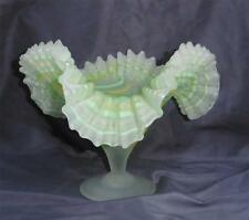 VTG Art Glass Made in Egypt Frosted Center Bowl Ruffle Edge Yellow Green Clear
