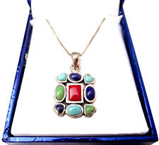 """Solid .925 Sterling Silver & Gemstone Pendant w/ 16"""" Box Chain-Turquoise Lapis"""