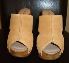New Madison Harding Camel/Tan Suede Wooden Platform Heel Slide - Sz 5