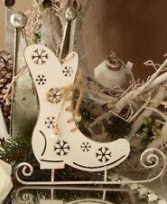 Schlittschuh Metall Weiß Weihnachten  Christmas Shabby Vintage Landhaus Deko 20c