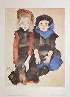 Egon Schiele Zwei kleine Mädchen Poster Kunstdruck Bild 50x36cm