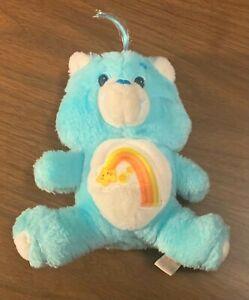 """Vintage AGC 1983 6"""" Mini Aqua Blue Shooting Star Care Bear WISH BEAR Plush - EUC"""