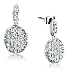 3W692 PAVE SPARKLING DANGLE DROP CUT EARRINGS SIMULATED DIAMONDS CIRCLES CLEAR