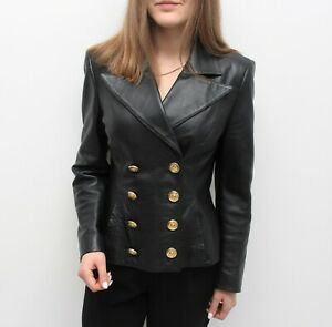 VINTAGE GIANNI VERSACE VERSUS RARE Leather Jacket Double Breasted Gold Buttons S