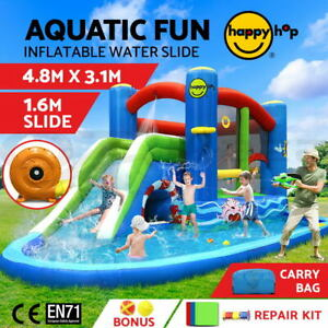 Happy Hop Kids Inflatable Water Slide Splash Jumping Castle Bouncer Play Toy