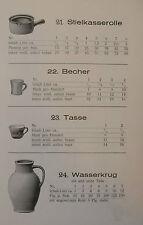 Original Katalog Musterheft Prospekt Tonkrug Tonwaren braunes Töpfergeschirr1933