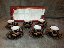 Yamasen 24 ct Gold Plated Porcelain Coffee Set Black Cups and Saucers 12 piece.