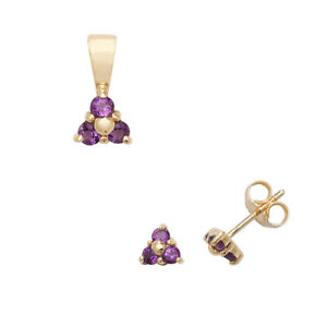 Amethyst Pendant and Earrings Set Three Stone Trilogy 9ct Yellow Gold Hallmarked