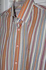 Mens Bugatchi Uomo Orange Blue Striped Long Sleeve Dress Shirt Size Large