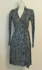 Diane von Furstenberg New Jeanne Two Grass Teal Green white wrap dress 0 silk