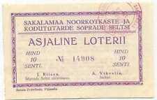 Estonia Young Eagles Sakalamaa Lottery Ticket 1940