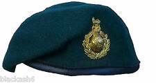 ROYAL MARINES BERET AND BRASS CAP BADGE (NEW)